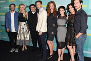 (L-R) Writer/producer Edward Kitsis, actress Jennifer Morrison, writer/producer Adam Horowitz, actors Josh Dallas, Rebecca Mader, Emilie de Ravin, Lana Parrilla and Colin O'Donoghue attend Entertainment Weekly's Annual Comic-Con Party in celebration of Comic-Con 2015 at FLOAT at The Hard Rock Hotel on July 11, 2015 in San Diego, California.