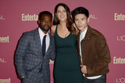 (L-R) William Jackson Harper, D'Arcy Carden and Manny Jacinto attend the 2019 Pre-Emmy Party hosted by Entertainment Weekly and L'Oreal Paris at Sunset Tower Hotel in Los Angeles on Friday, September 20, 2019.