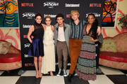 "(L-R) Michelle Gomez, Kiernan Shipka, Gavin Leatherwood, Ross Lynch, and Jaz Sinclair attend a screening of the ""Chilling Adventures of Sabrina: Part 2"", hosted by Entertainment Weekly and Netflix, at the Roxy Hotel on April 03, 2019 in New York City."