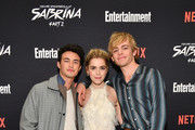 "(L-R) Gavin Leatherwood, Kiernan Shipka, and Ross Lynch attend a screening of the ""Chilling Adventures of Sabrina: Part 2"", hosted by Entertainment Weekly and Netflix, at the Roxy Hotel on April 03, 2019 in New York City."