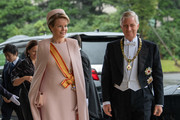 King Philippe of Belgium and Queen Mathilde of Belgium arrive to attend the Enthronement Ceremony Of Emperor Naruhito of Japan at the Imperial Palace on October 22, 2019 in Tokyo, Japan.