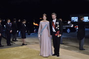 Crown Prince Frederik and Crown Princess Mary of Denmark arrive to attend the Court Banquet at the Imperial Palace on October 22, 2019 in Tokyo, Japan.