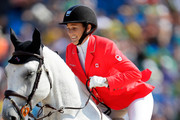 Colleen Loach of Canada riding Qorry Blue D'Argouges during the eventing team jumping final and individual qualifier on Day 4 of the Rio 2016 Olympic Games at the Olympic Equestrian Centre on August 9, 2016 in Rio de Janeiro, Brazil.