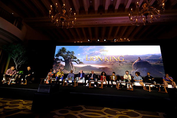 The Global Press Conference For Disney's 'The Lion King' [the lion king,stage,performance,sky,event,auditorium,musical ensemble,musical instrument,concert,music venue,orchestra,hans zimmer,actors,actors,producer,arrangements,vocal,disney,global press conference,choir]