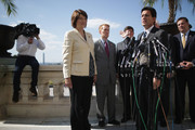 House Majority Leader Eric Cantor (R-VA) (2nd R) answers reporters' questions during a news conference with Rep. Cathy McMorris Rodgers (R-WA) (L), Rep. James Lankford (R-OK) and other House Republicans on the West Front of the U.S. Capitol October 2, 2013 in Washington, DC. Over the chants of nearby demonstrators, Cantor called on Senate Democrats and the White House to support legislation that will restore funding to national parks, medical research, veterans and the District of Columbia during the partial shutdown of the federal government. Democrats have rejected this piecemeal approach to funding during the first federal shutdown in 17 years.