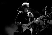 Image has been digitally converted to black and white.) Musician Eric Clapton performs at The Forum on September 18, 2017 in Inglewood, California.