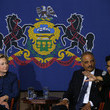 Eric Holder Democratic Presidential Candidate Hillary Clinton Campaigns in Philadelphia
