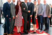 (L-R) Max Mutchnick, David Kohan, Megan Mullally, Eric McCormack, Robert Greenblatt, Debra Messing, Sean Hayes and James Burrows attend Eric McCormack being honored with a Star on the Hollywood Walk of Fame on September 13, 2018 in Hollywood, California.