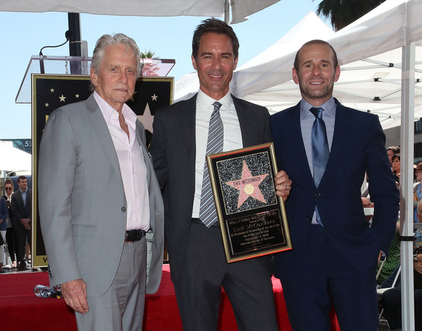Eric McCormack Honored With Star On The Hollywood Walk Of Fame [eric mccormack honored with star on the hollywood walk of fame,suit,event,award,white-collar worker,businessperson,tuxedo,tourism,eric mccormack,max mutchnick,michael douglas,star,l-r,hollywood walk of fame,california]