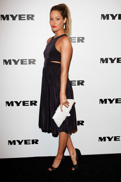 Erin McNaught Erin McNaught arrives at the Myer Spring/Summer 2011 fashion launch at the Carriage Works on August 11, 2011 in Sydney, Australia.