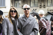 Anna Dello Russo and Angelo Gioia attend the Ermanno Scervino show at Milan Fashion Week Autumn/Winter 2019/20 on February 23, 2019 in Milan, Italy.