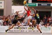 Jake Long of the Bombers flies for a mark during the JLT Community Series AFL match between the Essendon Bombers and the Richmond Tigers at Norm Minns Oval on February 24, 2018 in Wangaratta, Australia.