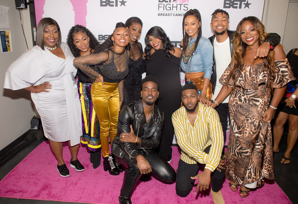 """BET Her: Fights Breast Cancer"" [bet her: fights breast cancer,event,red carpet,fashion,carpet,sari,premiere,fashion design,flooring,loni love,l-r,row,rhea walls,front row,alic paco walls,breast cancer,ahjah walls,event]"