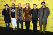 "Anne Consigny, .Julian Schnabel, Jean-Claude Carriere, Louise Kugelberg, Willem Dafoe and Vladimir Consigny attend the Photocall for ""At Eternity's Gate"" film at Musee du Louvre on April 02, 2019 in Paris, France."
