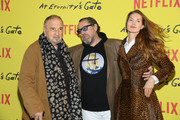 ".Jean-Claude Carriere, Julian Schnabel, Louise Kugelberg attend the Photocall for ""At Eternity's Gate"" film at Musee du Louvre on April 02, 2019 in Paris, France."
