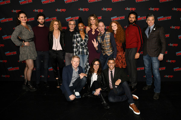 New York Comic Con 2018 -  Day 3 [social group,event,performance,fashion,team,fun,stage,talent show,crowd,musical ensemble,front l-r,back l-r,new york comic con,heather kadin,executive producer,co-creator,anthony rapp,michelle yeoh,wilson cruz,alex kurtzman]