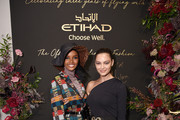Halima Aden and Demi-Leigh Nel-Peters attend the Etihad Airways cocktail party during NYFW: The Shows at Spring Studios on September 10, 2019 in New York City.