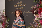 Halima Aden attends the Etihad Airways cocktail party during NYFW: The Shows at Spring Studios on September 10, 2019 in New York City.