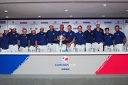 Team Europe pose with the trophy at the press conference after winning the EurAsia Cup 2016 presented DRB-HICOM at Glenmarie G&CC on January 17, 2016 in Kuala Lumpur, Malaysia.