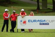 From left Liang Wen-chong, Thongchai Jaidee, Byeong Hun An pictured during the day two of the EurAsia 2016 presented by DRB-HICOM at Glenmarie G&CC on January 16, 2016 in Kuala Lumpur, Malaysia.