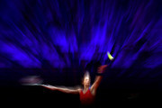 Andrea Petkovic of Germany serves on day 3 of the Porsche Tennis Grand Prix between Maria Sakkari of Greece and Andrea Petkovic of Germany at Porsche Arena on April 19, 2021 in Stuttgart, Germany.