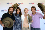 (L-R) Henri Leconte, Annabel Croft, Barbara Schett and Mats Wilander with their Akubra Hats  during the Eurosport tennis panel of experts at Hilton on the Park on January 15, 2013 in Melbourne, Australia.