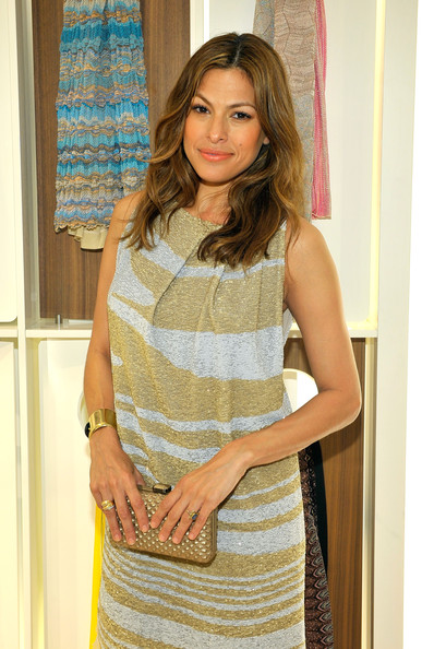 Missoni Celebrates the Opening of the Beverly Hills Missoni Boutique [clothing,dress,yellow,fashion,cocktail dress,neck,fashion design,long hair,photography,beige,eva mendes,missoni beverly hills,beverly hills missoni boutique,store,california,missoni celebrates,opening]