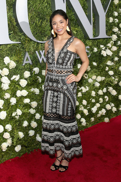 2017 Tony Awards - Red Carpet [red carpet,flooring,carpet,dress,gown,red carpet,shoulder,fashion,fashion model,photo shoot,cocktail dress,eva noblezada,tony awards,radio city music hall,new york city]
