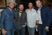 Drake White, Trey Wilson, Chris Stacey and Kris Lamb attend an evening with Big Machine Label Group Artists The Cadillac Three (Big Machine Records), Drake White (Dot Records), And Waterloo Revival (Big Machine Records) at Hard Rock Cafe Nashville on February 25, 2015 in Nashville, Tennessee.