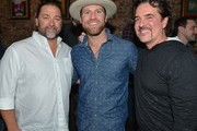 Dot Record's Chris Stacey, Recording Artist Drake White and Scott Borchetta attend An Evening With Big Machine Label Group Artists The Cadillac Three (Big Machine Records), Drake White (Dot Records), And Waterloo Revival (Big Machine Records) at Hard Rock Cafe Nashville on February 25, 2015 in Nashville, Tennessee.
