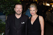 (L-R) Ricky Gervais and Jane Fallon attend the Evening Standard Film Awards at Claridge's on December 8, 2016 in London, United Kingdom.