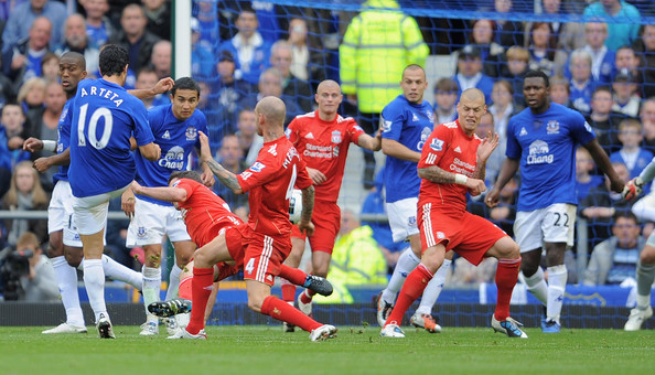 Mikel Arteta of Everton scores to make it 2-0 during the Barclays Premier League match between Everton and Liverpool at Goodison Park on October 17, 2010 in Liverpool, England.