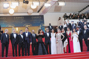 """(L-R) Cannes Film Festival President Pierre Lescure, Producer Alexandre Mallet-Guy, actors Eduard Fernandez, Javier Bardem, director Asghar Farhadi, Cannes Film Festival Director Thierry Fremaux, actress Penelope Cruz, wearing jewels by Atelier Swarovski Fine Jewelry, actor  Ricardo Darin, actress Carla Campra, actress Elvira Minguez, Barbara Lennie, actress Sara Salamo, Inma Cuesta, producer Alvaro Longoria and Cannes Film Festival Director Thierry Fremaux attend the screening of """"Everybody Knows (Todos Lo Saben)"""" and the opening gala during the 71st annual Cannes Film Festival at Palais des Festivals on May 8, 2018 in Cannes, France."""
