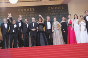 """(L-R) Producer Alexandre Mallet-Guy, actors Eduard Fernandez, Javier Bardem, director Asghar Farhadi, Cannes Film Festival Director Thierry Fremaux, actress Penelope Cruz, wearing jewels by Atelier Swarovski Fine Jewelry, actor  Ricardo Darin, actress Carla Campra, actress Elvira Minguez, Barbara Lennie, actress Sara Salamo, Inma Cuesta and producer Alvaro Longoria attend the screening of """"Everybody Knows (Todos Lo Saben)"""" and the opening gala during the 71st annual Cannes Film Festival at Palais des Festivals on May 8, 2018 in Cannes, France."""