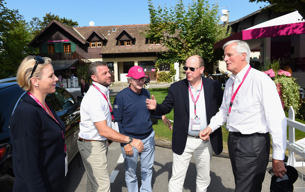 Prince Albert II of Monaco introduces his wife Princess Charlene of Monaco to Michael Barnier, Vice President of the European Commission as Franck Riboud, President of the Evian Championship and CEO of Danone and Jaques Bungert, Evian Championship Director look on whilst visiting the Evian Championship village during the final round of The Evian Championship at the Evian Resort Golf Club on September 14, 2014 in Evian-les-Bains, France.