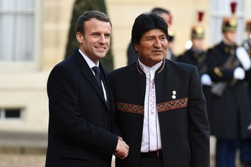 Evo Morales French President Emmanuel Macron Receives One Planet Summit's International Philanthropists at Elysee Palace in Paris