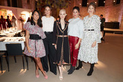 (L-R) Minh-Khai Phan-Thi, Janina Uhse, Emilia Schuele, Jasmin Gerat and Eva Padberg attend the exclusive dinner and exhibition of the Giambattista Valli x H&M Collection at Elisabethkirche on November 06, 2019 in Berlin, Germany.
