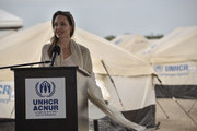 United Nations High Commissioner for Refugees (UNCHR) Special Envoy Angelina Jolie speaks during a press conference after visiting a refugee camp in the border between Colombia and Venezuela on June 8, 2019 in Maicao, Colombia. UN and International Organization for Migration (IOM) announced yesterday that 4 million of Venezuelans have left their country since 2015 due to the social, political and economic crisis, which means they are of the single largest population groups displaced from their country globally. The camp in Maicao has 60 tents  which can accommodate up to 350 people. Due to high demand, UNHCR is considering an expansion to give shelter to 1,400 people. Colombia it the top host of Venezuelan migrants and refugees, accounting 1.3 million.