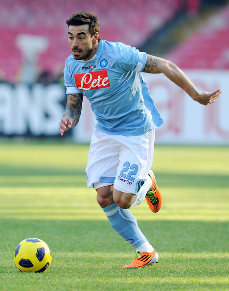 Ezequiel Lavezzi Ezequiel Lavezzi of Napoli in action during the Serie A match between SSC Napoli and AC Cesena at Stadio San Paolo on February 6, 2011 in Naples, Italy.