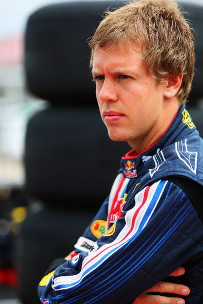 Sebastian Vettel of Germany and Red Bull Racing is seen in the pitlane during previews to the British Formula One Grand Prix at Silverstone on June 18, 2009, in Northampton, England.
