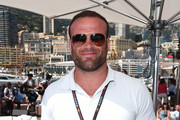 Jamie Roberts poses for photo on the Red Bull Racing Energy Station during the Monaco Formula One Grand Prix at Circuit de Monaco on May 26, 2018 in Monte-Carlo, Monaco.