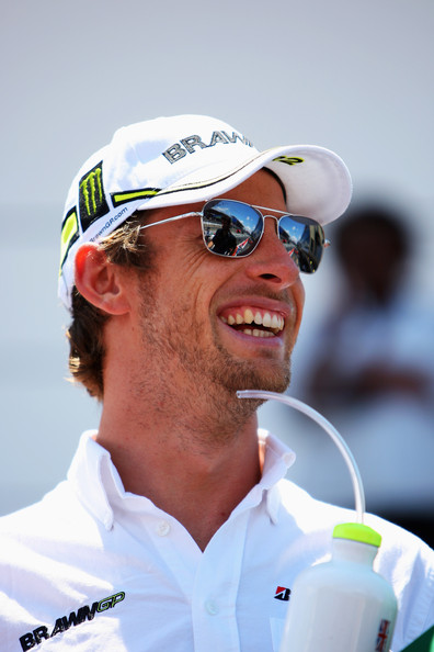 Jenson Button of Great Britain and Brawn GP attends the drivers parade before the Brazilian Formula One Grand Prix at the Interlagos Circuit on October 18, 2009 in Sao Paulo, Brazil.