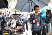 Louis Tomlinson, singer, on the grid by Red Bull Racing during the Monaco Formula One Grand Prix at Circuit de Monaco on May 29, 2016 in Monte-Carlo, Monaco.