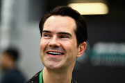 British comedian Jimmy Carr looks on in the Paddock before the Formula One Grand Prix of Singapore at Marina Bay Street Circuit on September 16, 2018 in Singapore.