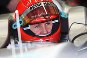 Michael Schumacher of Germany and Mercedes GP prepares to drive during winter testing at the Circuito De Jerez on February 19, 2010 in Jerez de la Frontera, Spain.