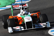 Adrian Sutil of Germany and Force India drives during winter testing at the Circuito De Jerez on February 19, 2010 in Jerez de la Frontera, Spain.