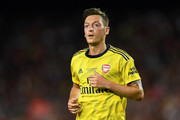 Mesut Ozil of Arsenal looks on during the Joan Gamper trophy friendly match between FC Barcelona and Arsenal at Nou Camp on August 04, 2019 in Barcelona, Spain.