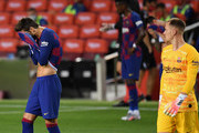 Gerard Pique of FC Barcelona shows his disappointment during the Liga match between FC Barcelona and CA Osasuna at Camp Nou on July 16, 2020 in Barcelona, Spain.