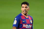 Luis Suarez of FC Barcelona looks on during the Liga match between FC Barcelona and Club Atletico de Madrid at Camp Nou on June 30, 2020 in Barcelona, Spain.