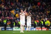 Phil Jones of Manchester United acknowledges the fans after the UEFA Champions League Quarter Final second leg match between FC Barcelona and Manchester United at Camp Nou on April 16, 2019 in Barcelona, Spain.